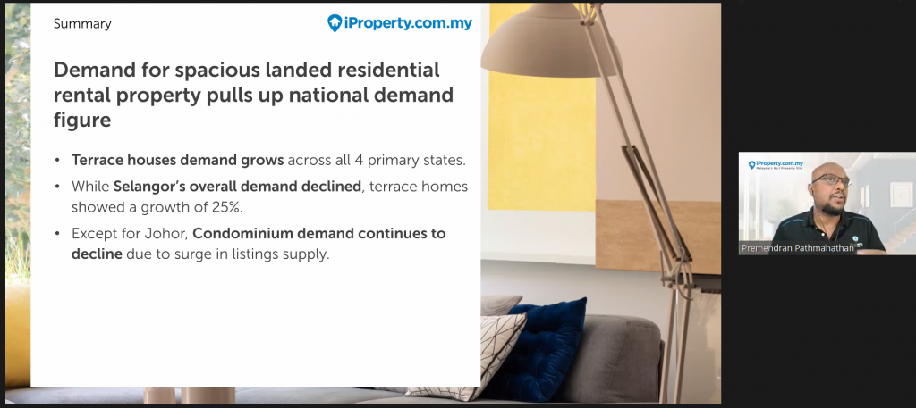 iProperty.com.my: Rental Demand for Spacious Landed Homes Boosts National Demand Figure in H1 2021